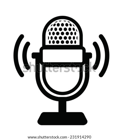 vector black Microphone Icon on white background  - stock vector