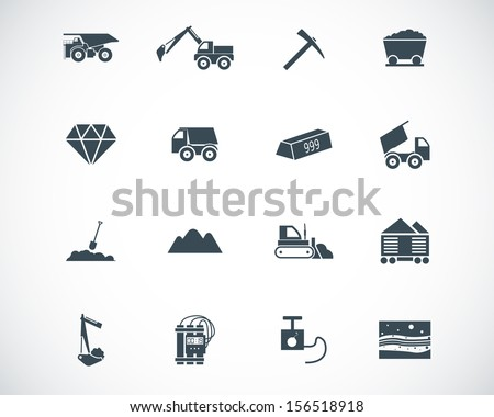 Vector black  mining icons set - stock vector