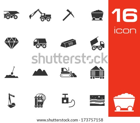 Vector black mining icons set on white background - stock vector