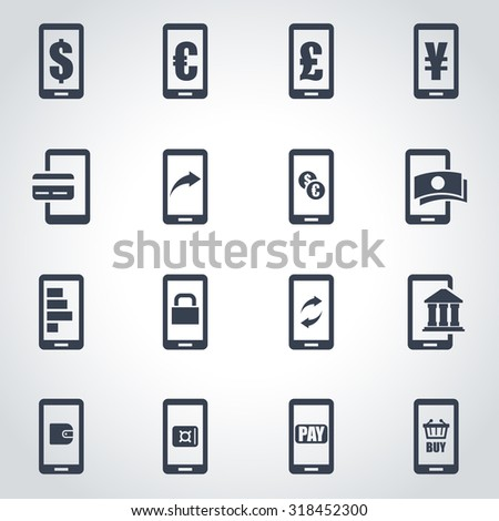 Vector black mobile banking icon set. Mobile Banking Icon Object, Mobile Banking Icon Picture, Mobile Banking Icon Image, Mobile Banking Icon Graphic, Mobile Banking Icon JPG - stock vector - stock vector