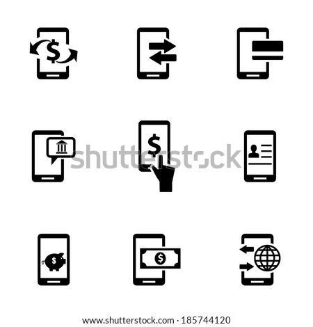 Vector black mobile banking icons set on white background - stock vector