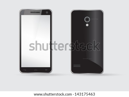Vector black mobile phone, front and back side
