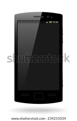 vector black mobile phone with free space on the display