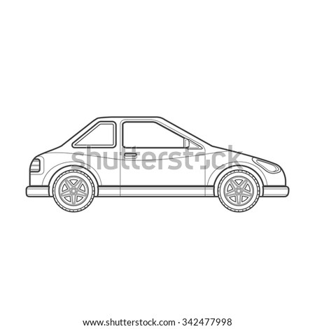 vector black monochrome contour coupe body type vehicle illustration isolated white background