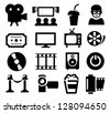 vector black movie icon set on gray - stock vector