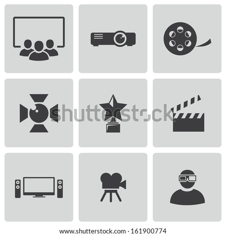 Vector black movie icons set - stock vector