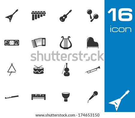 Vector black music instruments icons set white background - stock vector