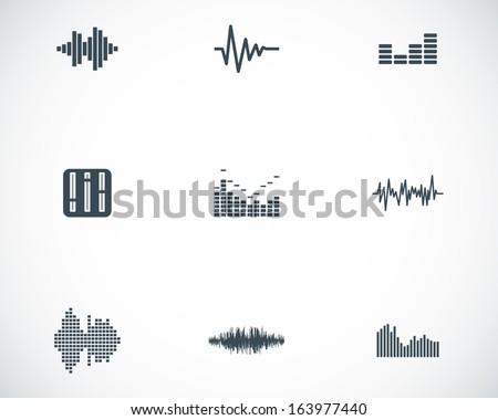 Vector black music soundwave icons set white background - stock vector