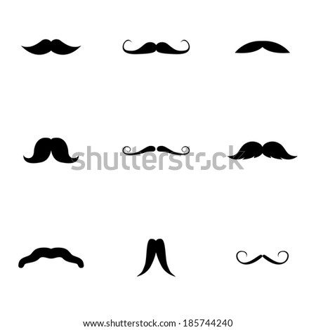 Vector black mustaches icons set on white background