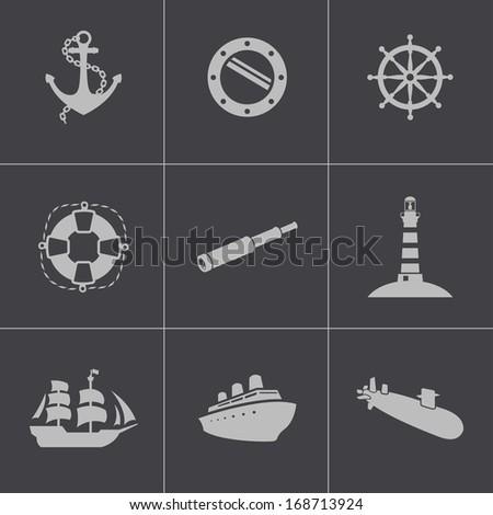 Vector black nautical icons set - stock vector