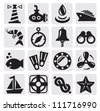 vector black nautical icons set on gray - stock vector