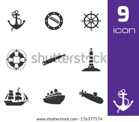 Vector black nautical icons set on white background - stock vector