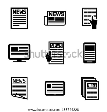Vector black newspaper icons set on white background - stock vector