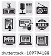 vector black newspaper media icons on gray - stock
