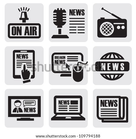 vector black newspaper media icons on gray - stock vector