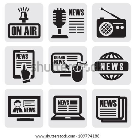 vector black newspaper media icons on gray - stock vector