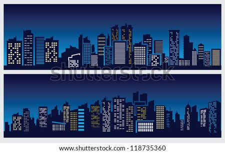 vector black night city icons set on blue - stock vector