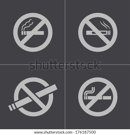 Vector black no smoking icons set on gray background - stock vector