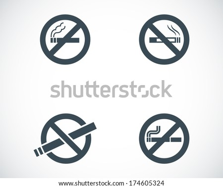 Vector black no smoking icons set on white background