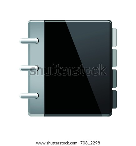 Vector black notebook (organizer) icon. - stock vector
