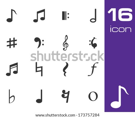 Vector black notes icon set on white background - stock vector