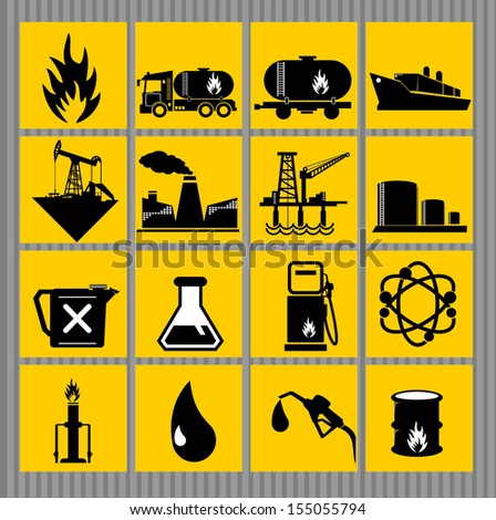 vector black oil and petrol icons set - stock vector