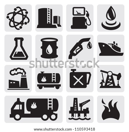 vector black oil and petrol icons set on gray - stock vector