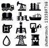 vector black oil icons set on white - stock vector