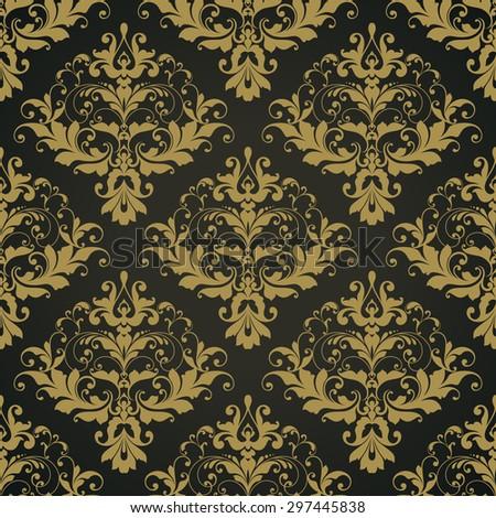 Vector black ornate damask background Seamless abstract decorative elegant pattern. - stock vector