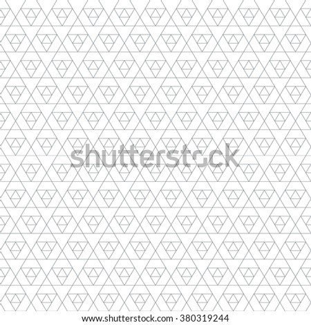vector black outline triangle sacral geometry abstract seamless pattern isolated white background