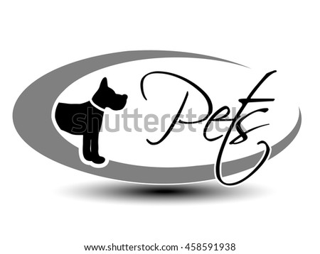 Vector black oval label with symbol of dog and with text Pets.