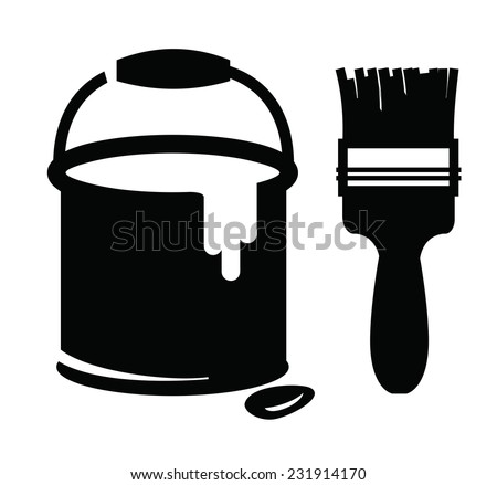 vector black paint and paint brush on white background ...