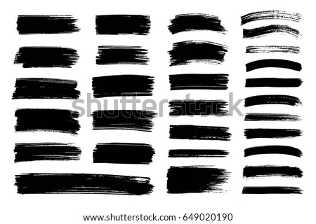 Vector black paint, ink brush stroke, brush, line or texture. Dirty artistic design element, box, frame or background  for text.