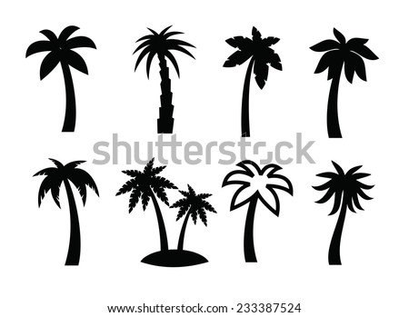 vector black palm icon on white background - stock vector