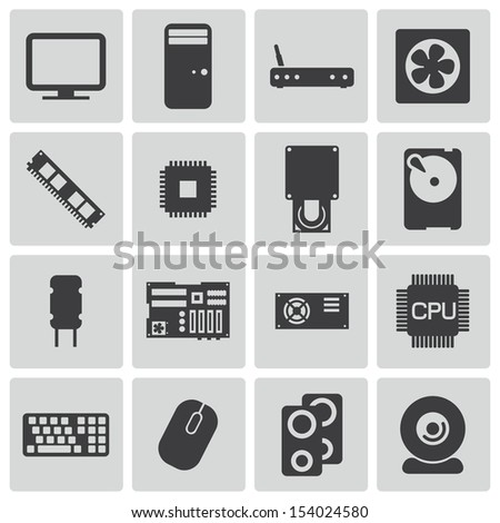 Vector black  PC components  icons set - stock vector