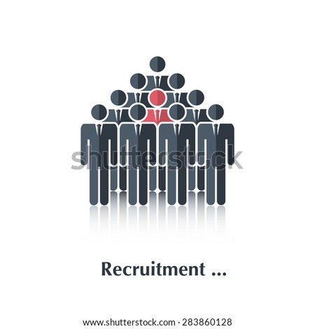 Vector  black people icon,pictogram.Concept recruitment, selection,choice of the person in the crowd,over white with text Recruitment,in flat stile - stock vector