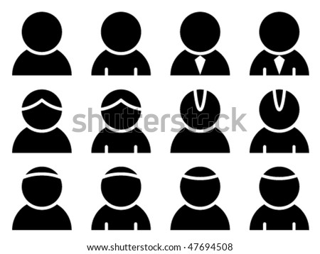 vector black person icons - stock vector