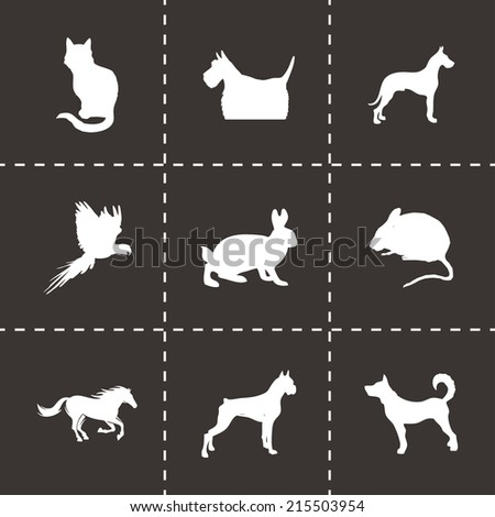 Vector black pet icons set on black background - stock vector