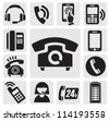 vector black phone icons set on gray - stock photo