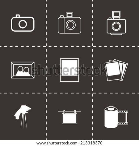 Vector black photo icons set on black background - stock vector