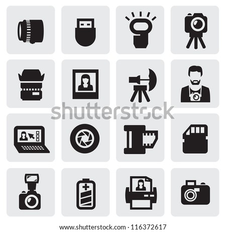 vector black photo icons set on gray