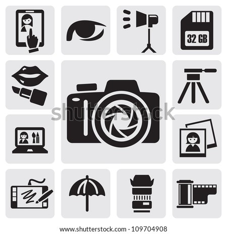 vector black photo icons set on gray background - stock vector
