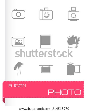 Vector black photo icons set on white background - stock vector