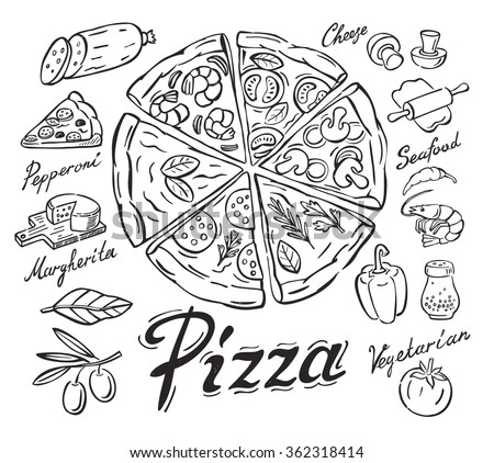 vector black pizza icon on white background - stock vector