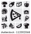 vector black pizza icons set on gray - stock vector