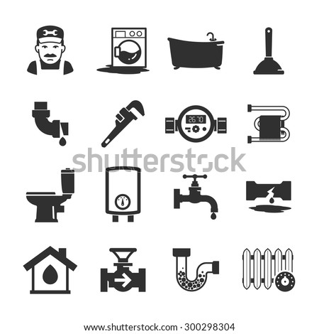 Vector black plumbing icons collection - stock vector