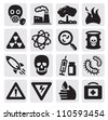 vector black pollution icon set on gray - stock photo