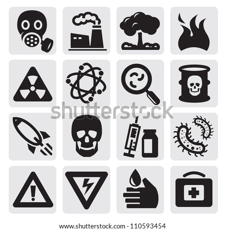 vector black pollution icon set on gray