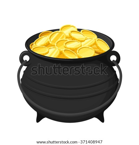 Vector black pot of gold coins isolated on a white background.