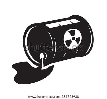 vector black radioactive waste icon on white background - stock vector